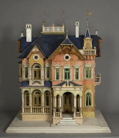 Dollhouse made by the Moritz Gottschalk Company, Marienberg, Germany. Featured by F. A. O. Schwartz as a Christmas exclusive in its catalogues during the 1890s. More info here: http://www.thestrong.org/online-collections/nmop/1/1/77.7165