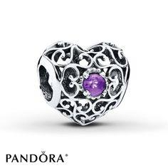 PANDORA Charm February Signature Heart Sterling Silver