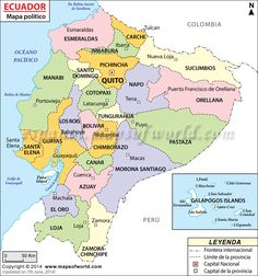 Political map of Ecuador illustrates the surrounding countries with international borders, 24 provinces boundaries with their capitals and the national capital. South America Map, Latin America, Social Studies Worksheets, Quito Ecuador, Spanish Culture, Equador, Panama Canal, Writing Jobs, Travel