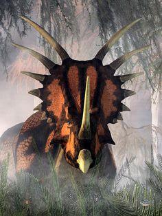 prehistoric creatures Styracosaurus In The Forest by Daniel Eskridge Styracosaurus in the ForestA styracosaurus moves among the dense undergrowth of a misty prehisto Cool Dinosaurs, Jurassic World Dinosaurs, Jurassic Park World, Prehistoric World, Prehistoric Creatures, Mythical Creatures, Dinosaur Fossils, Dinosaur Art, Dinosaur Pictures