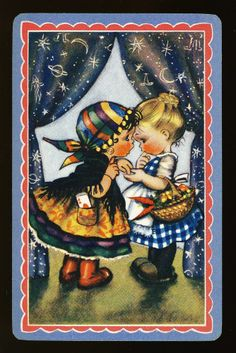 Little Girls at Play : at the FORTUNE TELLER'S / single playing card