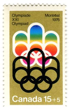 Canada Postage Stamp: 1976 Olympics in Montreal  depicts Olympic logo for Montreal Games designed by Georges Huel c. 1974 more stamps in collection: vintage stamps for the Olympic Games