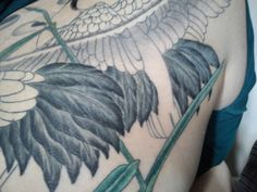 More work on my backpiece tattoo - such a long time to go!  http://creativetattoo-space.com  Japanese Cranes Tattoo