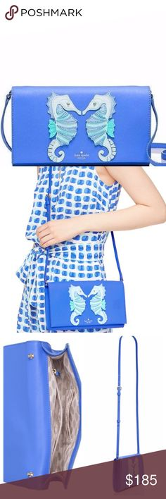 """Kate Spade blue seahorse crossbody NWT """"A Breath of Fresh Air"""" blue crosshatched leather crossbody with matching trim, 14k gold plated hardware, adjustable and detachable strap with snap closure, gold foil emboss with floating spade. Interior zipper pouch and card holder slots.  Approx 5.7""""h x 9.8""""w x .8""""d, 22"""" adjustable drop length. Dust bag included. kate spade Bags Crossbody Bags"""