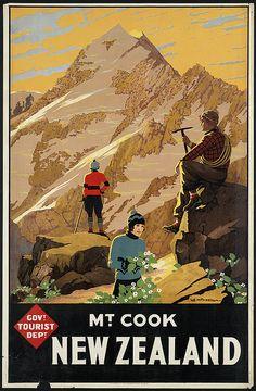 New Zealand Travel Inspiration - Mt. Cook New Zealand. Vintage New Zealand travel poster from the Government Tourist Department. Ski Vintage, Retro Poster, Poster Ads, Vintage Travel Posters, Poster Prints, Vintage Style, Vintage Sport, Advertising Poster, Art Posters