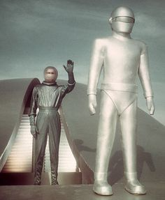 "Gort the very tall robot next to Klaatu. The Day the Earth Stood Still. ""Michael Rennie was ill the day the earth stood still, but he told us where we stand. Old Movies, Great Movies, Vintage Movies, Jorge Guzman, Cinema Video, Classic Sci Fi Movies, The Frankenstein, Sci Fi Films, Sci Fi Horror"