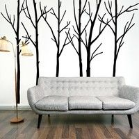 Wish | Large Tree Jungle TV background decor vinyl Wall sticker wall decals (Size: 288 cm, Color: Black)