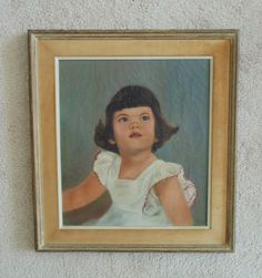 Vintage Oil Painting of Little Girl Child Portrait by CoyoteMoonAntiques on Etsy https://www.etsy.com/listing/387456818/vintage-oil-painting-of-little-girl