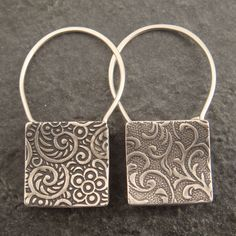 Shopping Bag Earrings Square Sterling by DownToTheWireDesigns