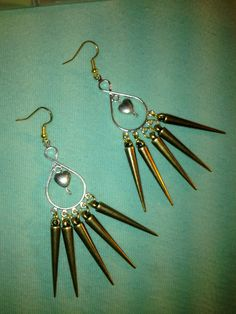 Exploding Hearts Spiked Chandelier Earrings by LitteredNation, $17.00
