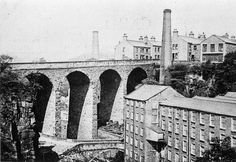 Torr Top Mill and Union Road Bridge before fire of 1912. 32 and 34 Union Road at centre rear.
