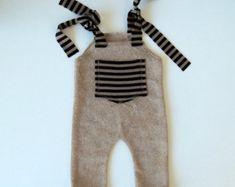 Newborn Photo Prop-Newborn Beige Boy Overalls-Baby Boy Photo Prop-Newborn Romper-Photography Props-Newborn Boy-Baby Overalls
