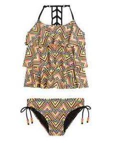 NWT Justice Girl Size 5 Multi Color Chevron Geo 2pc Ruffle Tankini Swimsuit | eBay