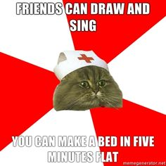 Friends can draw and sing. You can make a bed in five minutes flat.