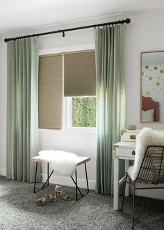 This girls bedrooms shows just how dramatic the right combination of Honeycomb Shades and Drapery can be. #honeycombshades #girlsbedroom #bedroomwindows