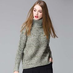 HEE GRAND Pull Femme Solid Color Full Sleeve Turtleneck Casual Knitted Thick Loose Women 5 Colors Sweaters And Pullovers WZM1080