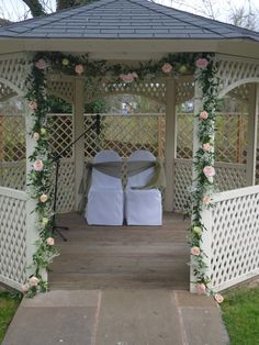 Garlanding used to deccorate a gazebo for an outdoor wedding at Warwick House, Southam,
