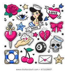 Old school fashion patch badges with heart, cherry, dagger and other elements. - Old school fashion patch badges with heart, cherry, dagger and other elements. Tattoo Old School, Old School Tattoo Designs, Old School Fashion, Rockabilly Tattoos, Rockabilly Fashion, Rockabilly Style, Tumblr Stickers, Cute Stickers, Trendy Tattoos