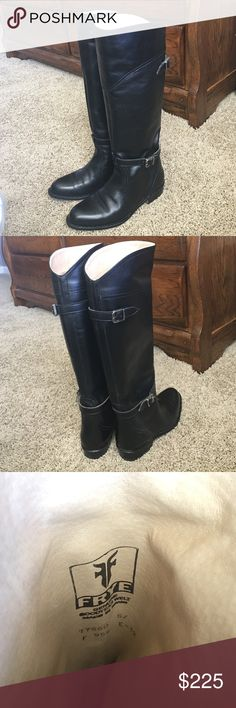 Black Frye Dorado riding boots! Classic black riding boot with accent buckles on side and back. Worn twice. In like new condition without tags. From smoke free home. Originally $458 on Frye website, currently priced on sale at $299. Frye Shoes Heeled Boots
