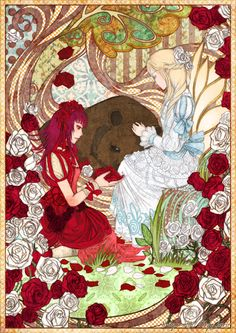 Rose Red and Snow White Fairy Tale German Fairy Tales, Grimm Fairy Tales, White Roses, Red Roses, Illustrations, Illustration Art, Classic Fairy Tales, Some Beautiful Pictures, Fairytale Art