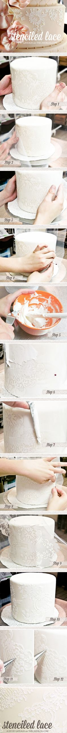 Stenciled Lace Cake Tutorial - idea for cake decorating technique Cake Decorating Techniques, Cake Decorating Tutorials, Cookie Decorating, Decorating Cakes, Cake Icing, Cupcake Cakes, Car Cakes, Pretty Cakes, Beautiful Cakes