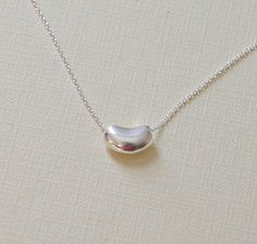 Silver bean necklace  sterling silver tiffany by littleglamour, $33.00