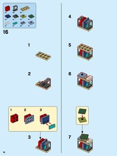 LEGO 10270 Bookshop instructions displayed page by page to help you build this amazing LEGO Creator Expert set Casa Lego, Lego Memes, Cuadros Star Wars, Lego Custom Minifigures, Lego Furniture, Lego Challenge, Lego Sculptures, Amazing Lego Creations, Lego Activities
