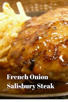 Recipes By Vance: French Onion Salisbury Steak A Tremendously succulent salisbury steak with a flavorful french onion sauce. Hamburger Recipes, Ground Beef Recipes, Meat Recipes, Gourmet Recipes, Cooking Recipes, Healthy Recipes, Hamburger Steaks, Hamburger Dishes, Recipies