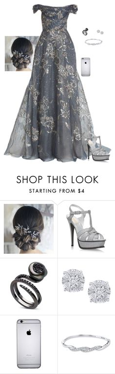 """""""Silver"""" by gone-girl ❤ liked on Polyvore featuring Marchesa, Yves Saint Laurent and Effy Jewelry"""