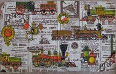 Train Railroad Fabric Vintage Heavyweight Cotton Like NEW by aahha, $7.00