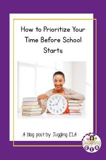 How to Prioritize Your Time Before School Starts Fun Classroom Activities, First Day Of School Activities, Teaching Activities, School Resources, Teaching Resources, Teaching Ideas, First Year Teachers, New Teachers, High School Literature