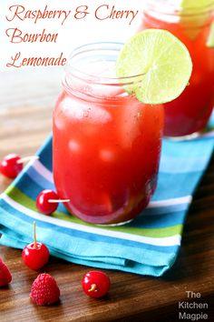 Raspberry and Cherry Bourbon Lemonade from @kitchenmagpe.