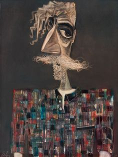 John Byrne | Self Portrait in Checked Shirt, Oil, 91.4cmx121.9