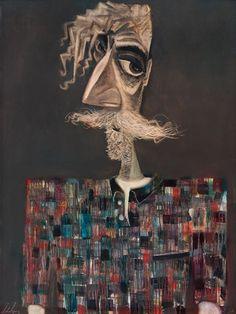 John Byrne   Self Portrait in Checked Shirt, Oil, 91.4cmx121.9