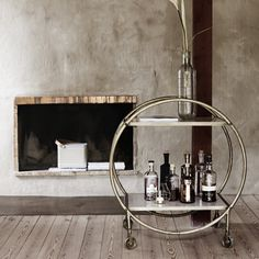 Art Deco-style brass and marble drinks trolley from Rockett St George - Retro to Go Vintage Drinks Trolley, Bar Trolley, Vintage Bar, Bar Carts, Kitchen Trolley, Vintage Decor, Retro Vintage, Marble Shelf, Marble Art