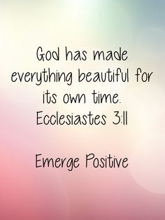 This really struck me today. Everything isn't beautiful, but perhaps the ugly is used to help us in the seasons of life that are difficult. Everything has a purpose. We just don't see or understand it in the moment. We need to let go of what we're desperately clutching. Trust that everything is going to be ok....because it is. Emerge Positive