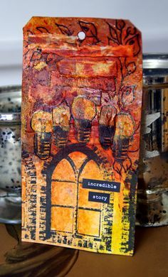 tag by @Marianne Johansson with 3rd Eye stamps TES-072 old castle window and TES-041 lightbulbs