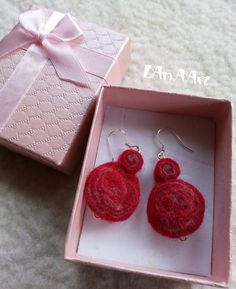 Red felted silver hooks earrings, handmade, red and grey spirals, figure eights, helices by LanAArt on Etsy