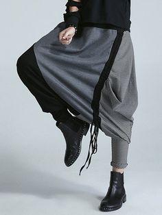 Striped Stitching Drawstring Harem Pants