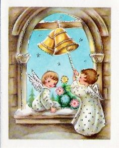Vintage Angels & Bells Christmas card