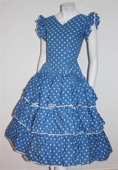 Vintage original 50s blue and white polka dot full tiered dress flamenco 8 10 S £21.00