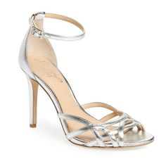 Women's Jewel Badgley Mischka Haskell Ii Strappy Sandal ($100) ❤ liked on Polyvore featuring shoes, sandals, silver leather, leather shoes, badgley mischka sandals, strappy stiletto sandals, tall shoes and strap sandals