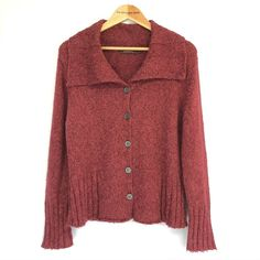Size Large UK 12 Length from shoulder to hem Bust size Button fastening to the front. Cosy, Knits, Online Price, Burgundy, Knitting, Best Deals, Casual, Red, Sweaters