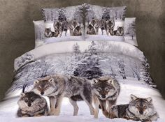 3D Snow Wolf print bedding comforter set sets queen size bedspread duvet cover bed in a bag sheet sheets  snowwolf 100% cotton