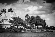 Black and white shot of Disney's Wedding Pavilion. Photo: Stephanie at Disney Fine Art Photography
