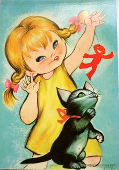 I Love my little Kitten - Vintage Postcard of a Big Eyed Girl Gif Animé, Animated Gif, Little Kittens, Cute Images, Cute Characters, Cute Illustration, Big Eyes, Vintage Postcards, Vintage Children