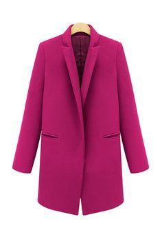 Coral Pink Blush Oversized Peacoat Basic Notch Collar Boyfriend ...