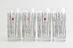 Highball Drinking Glasses With Birch Trees & Red Hearts - Set Of 4 by Mary Elizabeth Arts on Gourmly