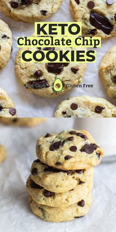 Keto Chocolate Chip Cookies Keto Chocolate Chip Cookies — a delicious low carb cookie! These healthy keto almond flour chocolate chip cookies are made with a special ingredient to keep them extra chewy! Keto Cookies, Almond Flour Cookies, Healthy Cookies, Cookies Et Biscuits, Cream Cookies, Cake Cookies, Low Calorie Cookies, Sugar Free Cookies, Pudding Cookies