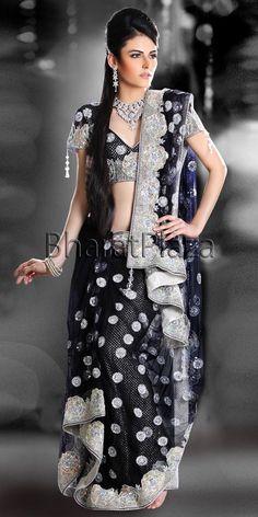 Black Bridal saree